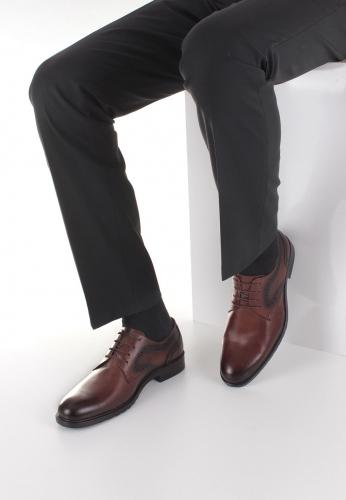 Kahverengi Desenli Erkek Deri Klasik Kundura