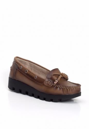 Kahverengi Kalın Taban Bayan Ayakkabı