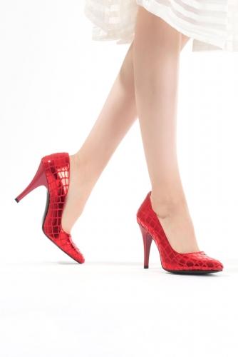 Kırmızı Desenli Bayan Stiletto Ayakkabı