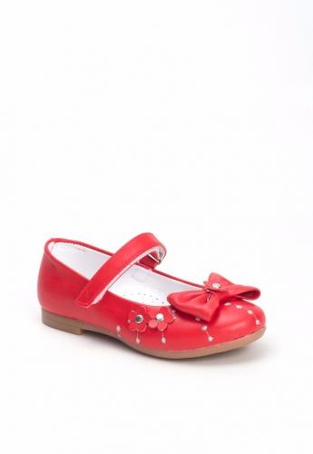 Kırmızı Kurdelalı Çiçek Desenli Çocuk Babet Ayakkabı