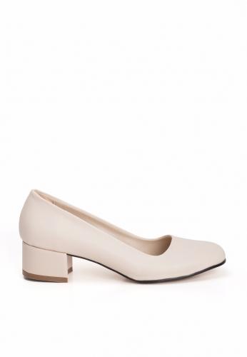 Krem Bayan Küt Topuk Ayakkabı