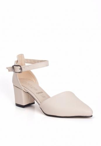 Krem Sivri Burun Yanları Açık Bayan Küt Topuk Ayakkabı