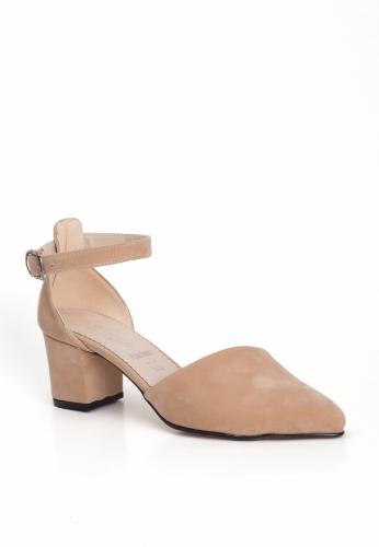 Krem Süet Sivri Burun Yanları Açık Bayan Küt Topuk Ayakkabı