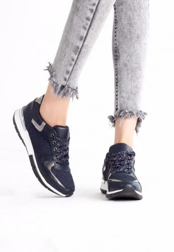 Lacivert Beyaz Simli Spor Ayakkabı