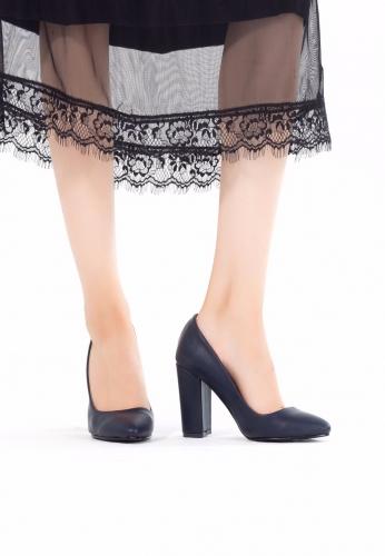 Lacivert Deri Topuklu Ayakkabı