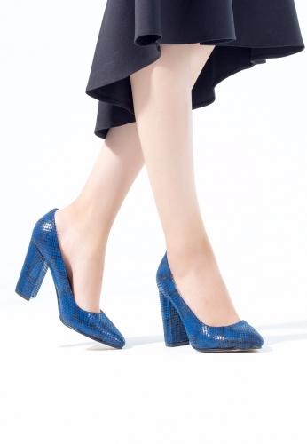 Lacivert Desenli Bayan Topuklu Ayakkabı