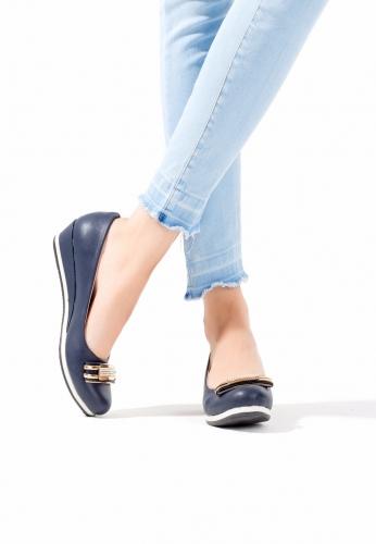 Lacivert Dolgu Topuk Ayakkabı