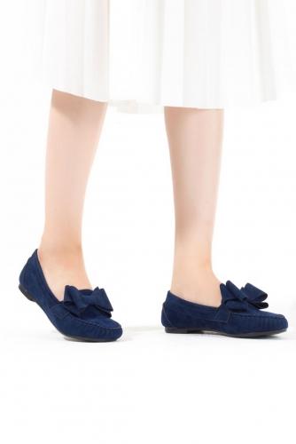 Lacivert Kurdelalı Süet Bayan Babet Ayakkabı
