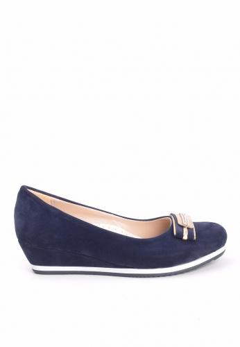 Lacivert Süet Dolgu Topuk Ayakkabı