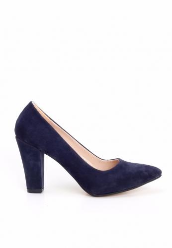 Lacivert Süet Kalın Topuklu Ayakkabı