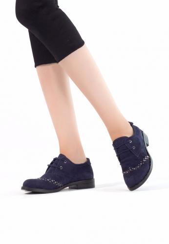 Lacivert Süet Zımbalı Bayan Oxford Ayakkabı
