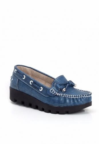 Mavi Desenli Kalın Topuk Bayan Ayakkabı