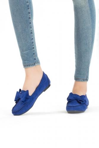 Mavi Kurusu Kurdelalı Süet Bayan Babet Ayakkabı