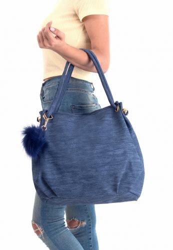 Mavi Ponpon Aksesuarlı Bayan Çanta