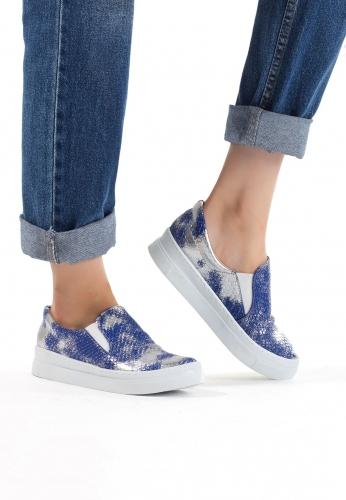 Mavi Renkli Bayan Spor Babet Ayakkabı