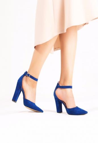 Mavi Süet Bilekten Kemerli Topuklu Ayakkabı