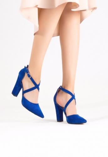 Mavi Süet Çapraz Bilekten Kemerli Topuklu Bayan Ayakkabı