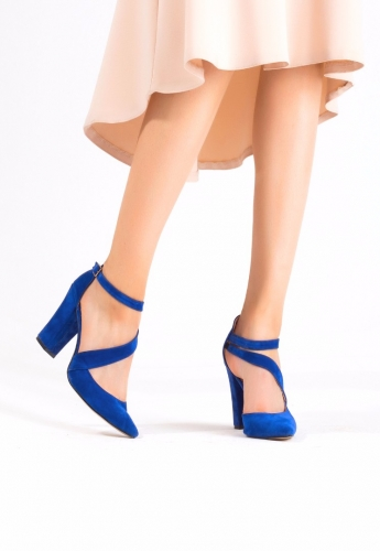 Mavi Süet Şeritli Bilekten Kemerli Topuklu Bayan Ayakkabı