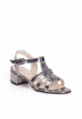 Metalik Gri Bilekten Kemerli Bayan Küt Topuk Ayakkabı