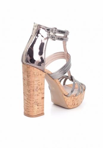Metalik Gri Rugan Bayan Platform Topuk Ayakkabı