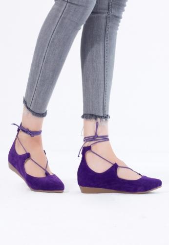 Mor Süet Bilekten Bağlı Bayan Babet Ayakkabı