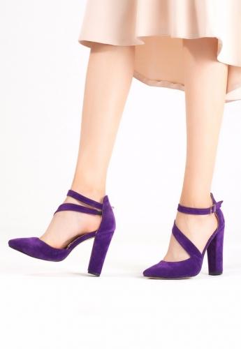 Mor Süet Şeritli Bilekten Kemerli Topuklu Bayan Ayakkabı