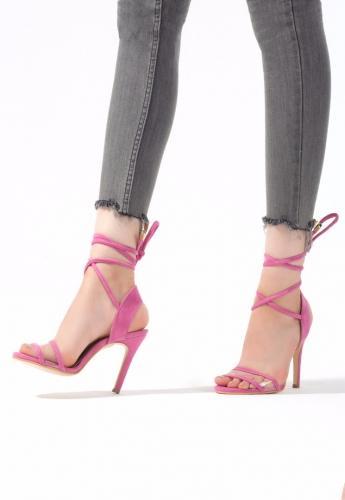 Pembe Süet Bağlamalı Bayan Stiletto Ayakkabı