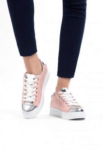 Pudra Gümüş Rugan Detaylı Bayan Spor Ayakkabı