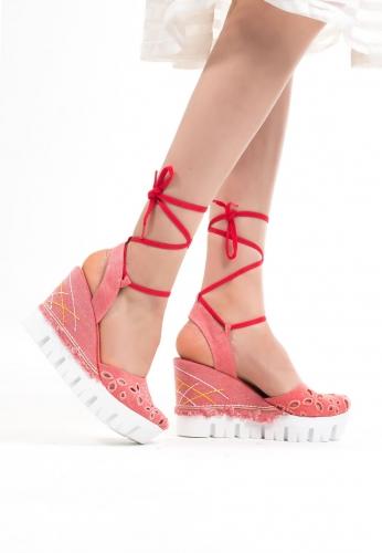 Pudra Kot Bilekten Bağlamalı Bayan Dolgu Topuk Ayakkabı