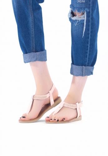 Pudra Parlak Rugan Boncuklu Bayan Sandalet Ayakkabı