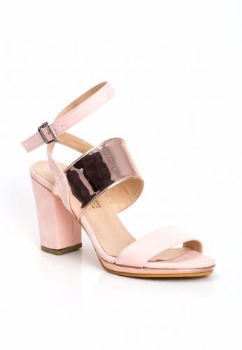Pudra Süet Bakır Şeritli Bayan Topuklu Ayakkabı