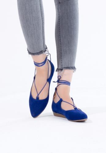 Saks Mavi Süet Bilekten Bağlı Bayan Babet Ayakkabı