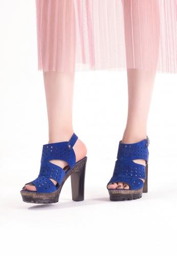 Saks Mavisi Süet Desenli Bilekten Kemerli Bayan platform Topuk Ayakkabı