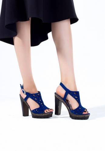 Saks Mavisi Süet Platform Topuk Ayakkabı