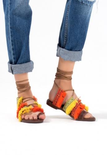 Sarı Turuncu Bilekten Bağlamalı İşlemeli Bayan Sandalet Ayakkabı