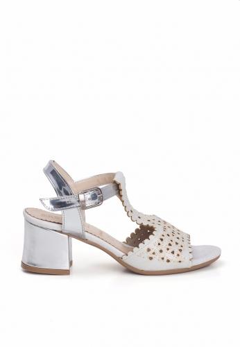Sedef Lazerli Gümüş Kemerli Bayan Kısa Topuk Ayakkabı