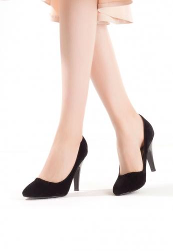 Siyah Bayan Süet Topuklu Ayakkabı