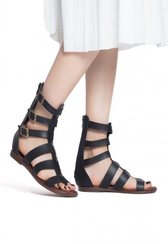 Siyah Bilekten Kemerli Bayan Sandalet Ayakkabı