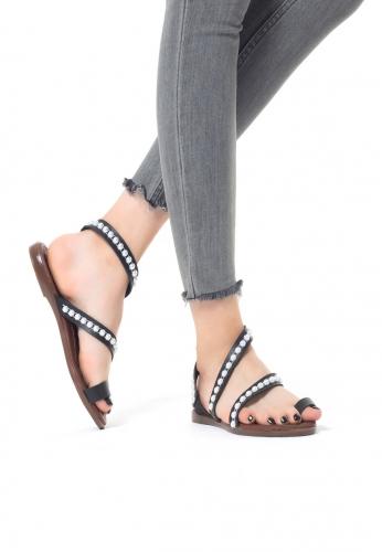 Siyah Boncuk İşlemeli Bayan Parmak Arası Sandalet Ayakkabı