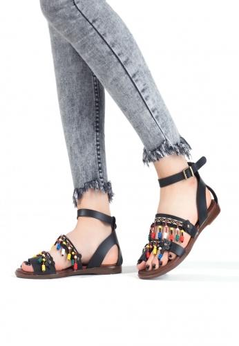 Siyah Boncuk İşlemeli Parmak Arası Bayan Sandalet Ayakkabı