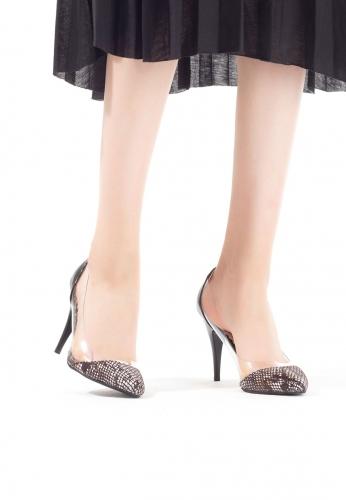 Siyah Desenli Burun Bayan Stiletto Ayakkabı