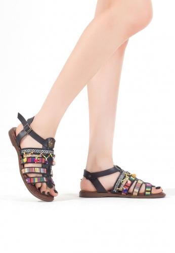 Siyah İşlemeli Boncuklu Bayan Sandalet Ayakkabı