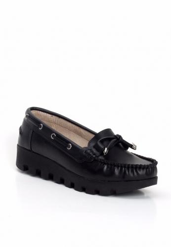 Siyah Kalın Taban Bayan Ayakkabı