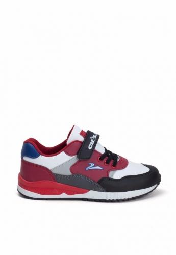 Siyah Kırmızı Desenli Çocuk Spor Ayakkabı