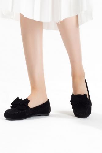 Siyah Kurdelalı Süet Bayan Babet Ayakkabı