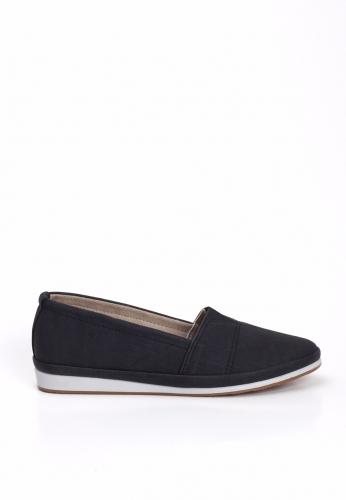 Siyah Lastikli Beyaz Taban Bayan Babet Ayakkabı
