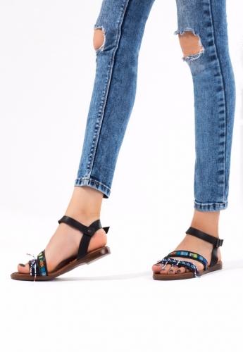 Siyah Renk Boncuk İşlemeli Bayan Sandalet Ayakkabı