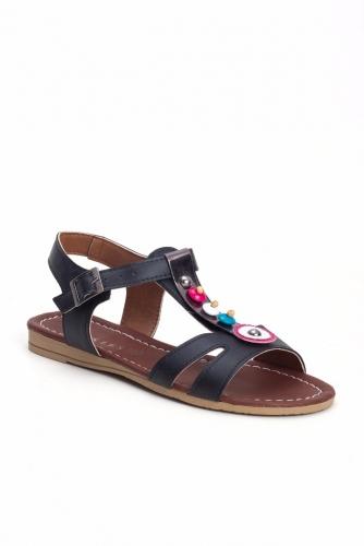 Siyah Renk Boncuklu Bayan Sandalet Ayakkabı