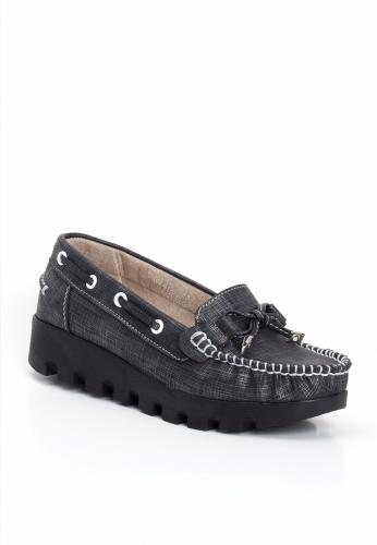 Siyah Renk Desenli Kalın Topuk Bayan Ayakkabı