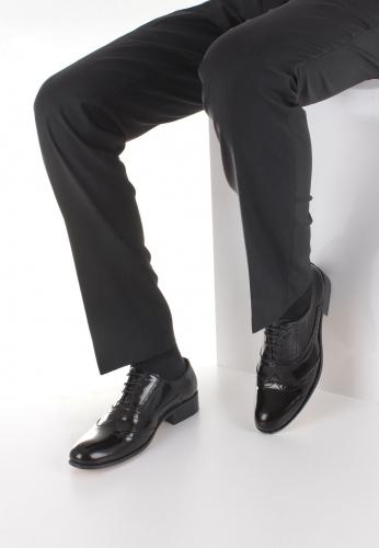 Siyah Rugan Deri Desenli Erkek Klasik Kundura